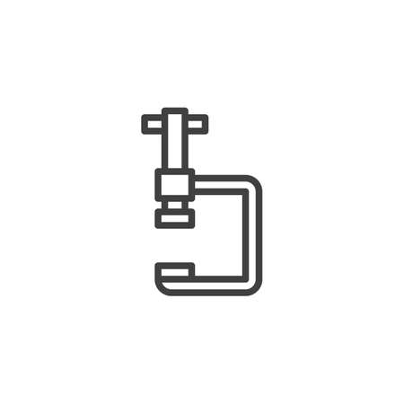 Vice clamp line icon. G-press instrument linear style sign for mobile concept and web design. Industrial, fixing tool outline vector icon. Symbol illustration. Vector graphics
