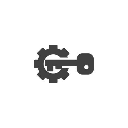 Gear and key vector icon. filled flat sign for mobile concept and web design. Activation configuration glyph icon. Symbol illustration. Vector graphics
