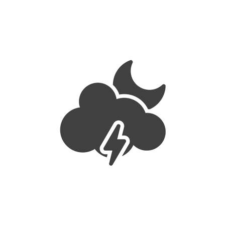 Moon cloud with lighting vector icon. filled flat sign for mobile concept and web design. Stormy night weather glyph icon. Meteorology symbol illustration. Vector graphics 矢量图像