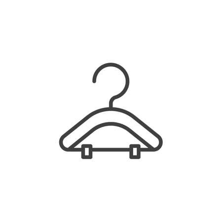 Icône de ligne de suspension de costume. signe de style linéaire pour le concept mobile et la conception Web. Icône de vecteur de contour de porte-vêtements. Illustration de symbole. Graphiques vectoriels Vecteurs
