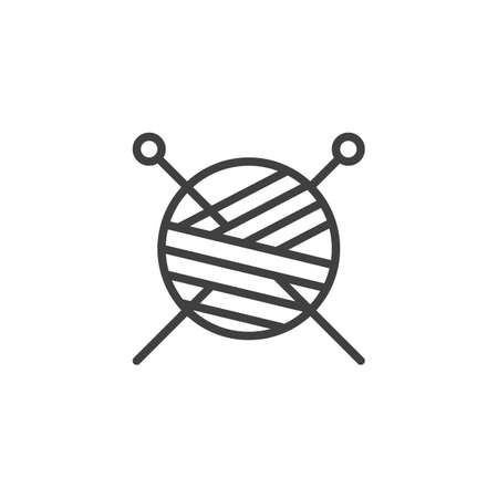Yarn ball and knitting needles line icon. linear style sign for mobile concept and web design. Skein of wool and sewing needles outline vector icon. Symbol illustration. Vector graphics