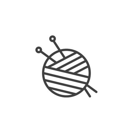 Yarn ball and needles line icon. linear style sign for mobile concept and web design. Sewing needles and skein of wool outline vector icon. Symbol illustration. Vector graphics