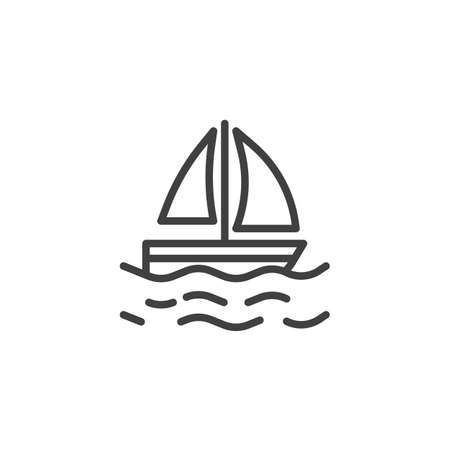 Sailing yacht on waves line icon. linear style sign for mobile concept and web design. Sail Boat and sea water outline vector icon. Travel, vacation symbol illustration. Vector graphics