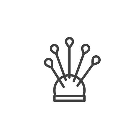Pincushion with pins line icon. linear style sign for mobile concept and web design. Sewing needles outline vector icon. Symbol illustration. Vector graphics Illustration