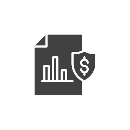 Business insurance vector icon. Actual cash value filled flat sign for mobile concept and web design. Financial document with security shield glyph icon. Symbol illustration. Vector graphics 向量圖像
