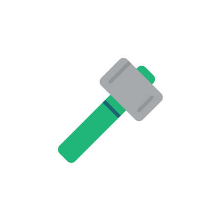 Sledgehammer flat icon, vector sign, Wooden mallet, hammer colorful pictogram isolated on white. Symbol illustration. Flat style design