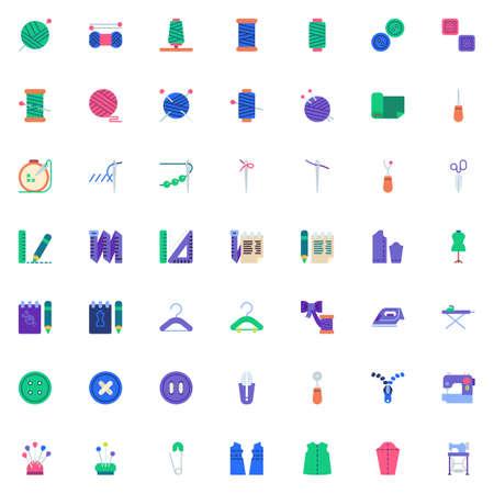 Kolekcja elementów do szycia, zestaw ikon płaski, pakiet kolorowych symboli zawiera - naparstek, elektryczna maszyna do szycia, tkanina z wzorem, manekin krawiecki, nożyczki odzieżowe. Ilustracja wektorowa. Projekt w stylu płaskim