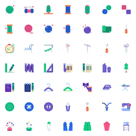 Sewing elements collection, flat icons set, Colorful symbols pack contains - Thimble, Electric sewing machine, Pattern fabric, Tailors dummy, Clothing scissors. Vector illustration. Flat style design