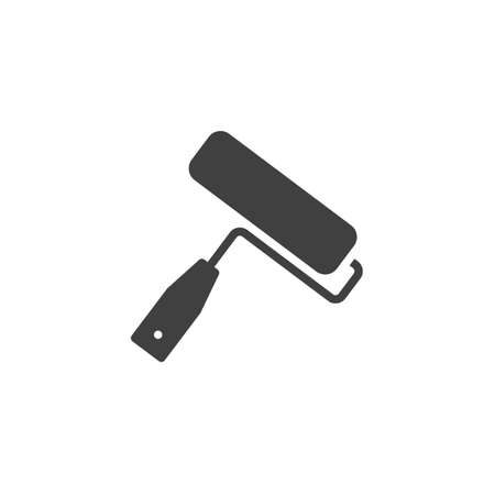 Paint roller vector icon. filled flat sign for mobile concept and web design. Home repair tool glyph icon. Symbol illustration. Vector graphics Vectores
