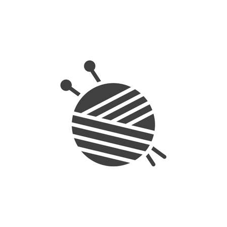 Yarn ball and needles vector icon. filled flat sign for mobile concept and web design. Sewing needles and skein of wool glyph icon. Symbol illustration. Vector graphics Illustration