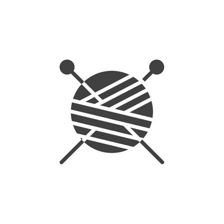 Yarn ball and knitting needles vector icon. filled flat sign for mobile concept and web design. Skein of wool and sewing needles glyph icon. Symbol illustration. Vector graphics