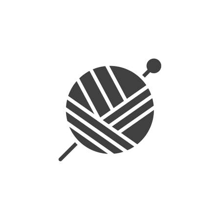 Round ball with thread vector icon. filled flat sign for mobile concept and web design. Yarn ball and needle glyph icon. Knitting and sewing symbol illustration. Vector graphics