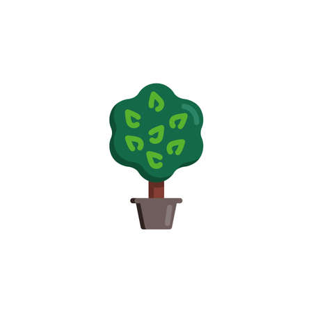 Tree with leaves in flower pot flat icon, Exotic plant vector sign, Potted tree colorful pictogram isolated on white. Gardening symbol illustration. Flat style design Ilustração