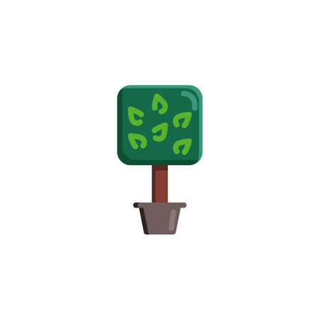 Potted tree with leaves flat icon, Decorative plant vector sign, Exotic plant colorful pictogram isolated on white. Symbol illustration. Flat style design