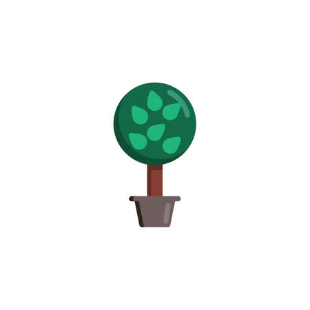 Tree with leaves in flower pot flat icon, Decorative plant vector sign, Potted tree colorful pictogram isolated on white. Gardening symbol illustration. Flat style design