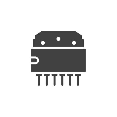 Computer chip vector icon. Microcircuit filled flat sign for mobile concept and web design. Transistor microchip glyph icon. Symbol, logo illustration. Vector graphics 向量圖像
