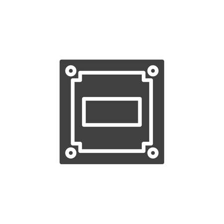 Cpu Circuit board vector icon. Microprocessor filled flat sign for mobile concept and web design. Computer Microchip glyph icon. Symbol, logo illustration. Vector graphics 写真素材 - 127344282