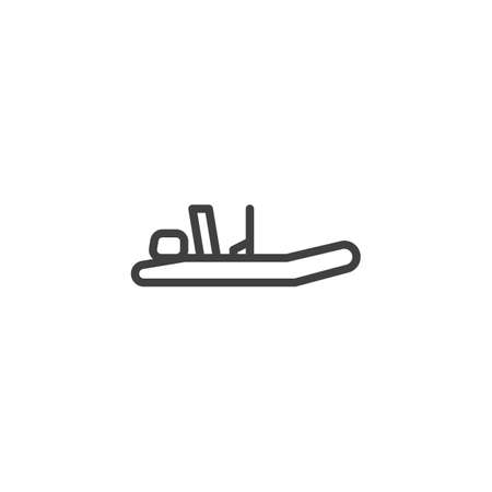 Fishing boat line icon. Rubber boat linear style sign for mobile concept and web design. Inflatable motorboat outline vector icon. Symbol, logo illustration. Vector graphics