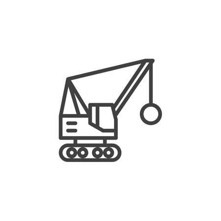 Abrissbirne LKW Symbol Leitung. Lineares Zeichen für mobiles Konzept und Webdesign. Abriss-LKW-Umriss-Vektor-Symbol. Symbol, Logoillustration. Vektorgrafiken