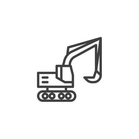 Excavator,truck line icon. Construction transport linear style sign for mobile concept and web design. Crawler digger outline vector icon. Symbol, logo illustration. Vector graphics 向量圖像