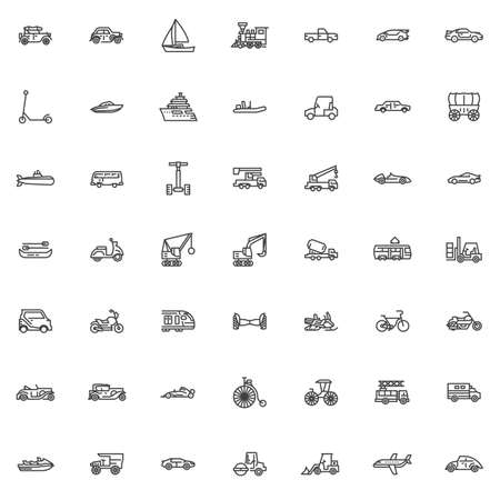Transportation and transport line icons set. linear style symbols collection, outline signs pack. vector graphics. Set includes icons as Retro classic car, Sailing boat, Locomotive, Train, Scooter