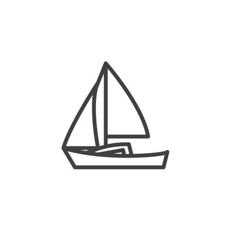 Sailing boat line icon. Ship linear style sign for mobile concept and web design. Sail Boat outline vector icon. Symbol, logo illustration. Vector graphics