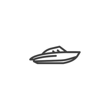 Water Scooter line icon. Speedboat linear style sign for mobile concept and web design. Motorboat, powerboat outline vector icon. Symbol, logo illustration. Vector graphics