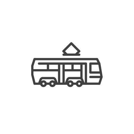 Tram train line icon. linear style sign for mobile concept and web design. Electric tram outline vector icon. Transportation symbol, logo illustration. Vector graphics