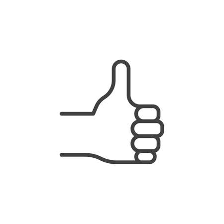 Like, hand gesture line icon. linear style sign for mobile concept and web design. Thumb up, hand outline vector icon. Symbol, logo illustration. Vector graphics Çizim