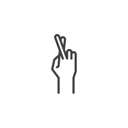 Fingers crossed, hand gesture line icon. linear style sign for mobile concept and web design. Cross fingers outline vector icon. Wish, luck symbol, logo illustration. Vector graphics Stock Illustratie
