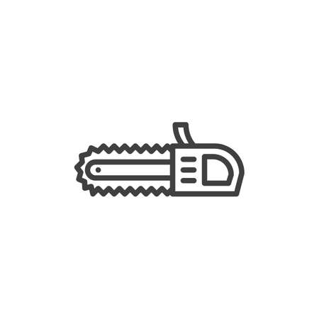 Chainsaw line icon. linear style sign for mobile concept and web design. Electric saw outline vector icon. Symbol, logo illustration. Vector graphics