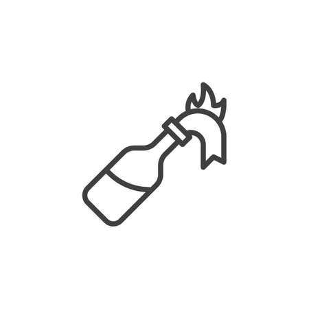 Fire cocktail bottle line icon. Glass bottle with gasoline and rag wick flaming linear style sign for mobile concept and web design. Molotov Cocktail outline vector icon. Symbol illustration.