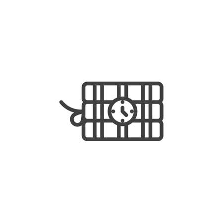 Ticking time bomb line icon. linear style sign for mobile concept and web design. Dynamite with clock outline vector icon. Symbol illustration. Vector graphics Vector Illustration