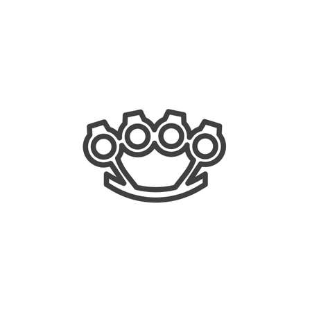 Brass knuckles line icon. linear style sign for mobile concept and web design. Brass Knuckle weapon outline vector icon. Symbol illustration. Vector graphics
