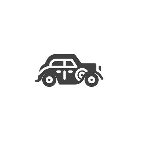 Old classic car vector icon. Vintage auto filled flat sign for mobile concept and web design. Retro automobile glyph icon. Symbol illustration. Vector graphics