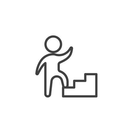 Job career ladder line icon. Upstairs linear style sign for mobile concept and web design. Human on ladder outline vector icon. Achievement symbol illustration. Vector graphics