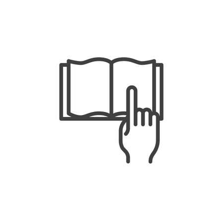 Reading book line icon. linear style sign for mobile concept and web design. Hand pointing on open book pages outline vector icon. E-learning symbol illustration. Vector graphics