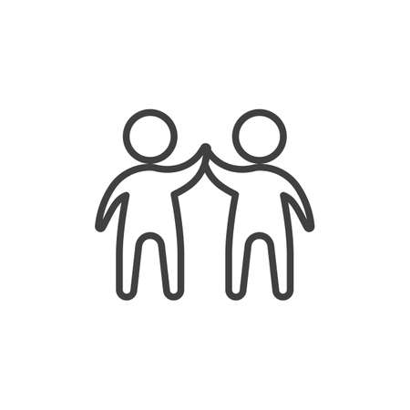 Two man giving each other a high five line icon. linear style sign for mobile concept and web design. Business teamwork people outline vector icon. Symbol illustration. Vector graphics