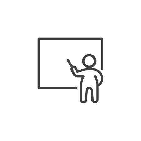 Man and whiteboard line icon. Training linear style sign for mobile concept and web design. Business presentation outline vector icon. Symbol illustration. Vector graphics