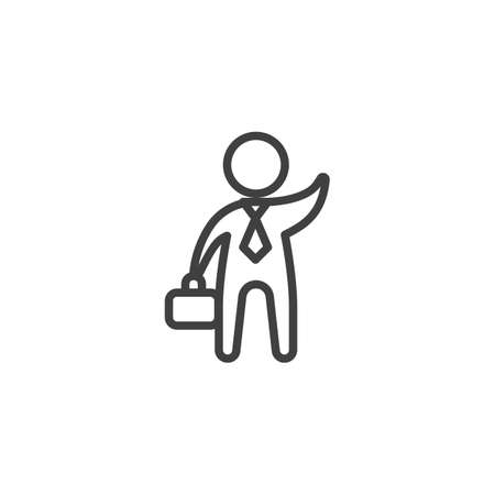 Businessman with a briefcase waving his hand line icon. linear style sign for mobile concept and web design. Business greeting outline vector icon. Symbol illustration. Vector graphics