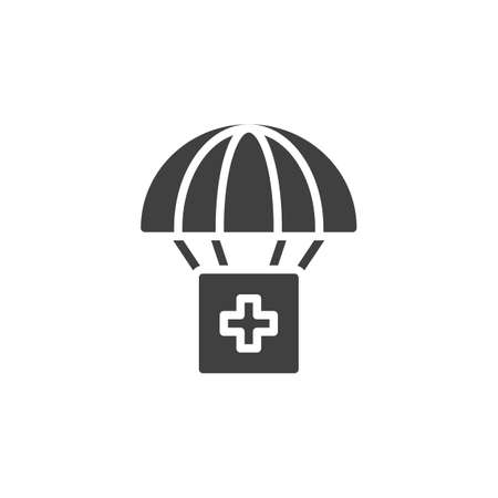 Air Drop With Parachute vector icon. filled flat sign for mobile concept and web design. Medical Relief Supplies glyph icon. Symbol illustration. Vector graphics