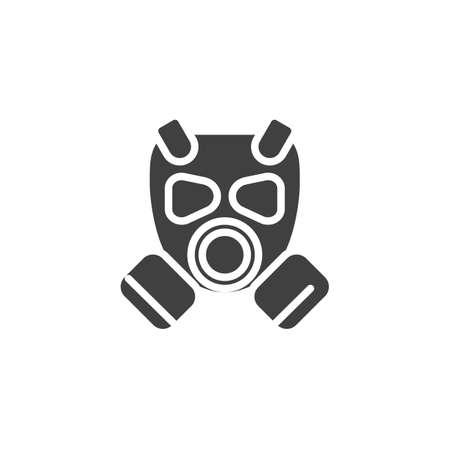 Icono de vector de máscara de gas. signo plano lleno para concepto móvil y diseño web. Icono de glifo de respirador. Ilustración de símbolo. Gráficos vectoriales Ilustración de vector