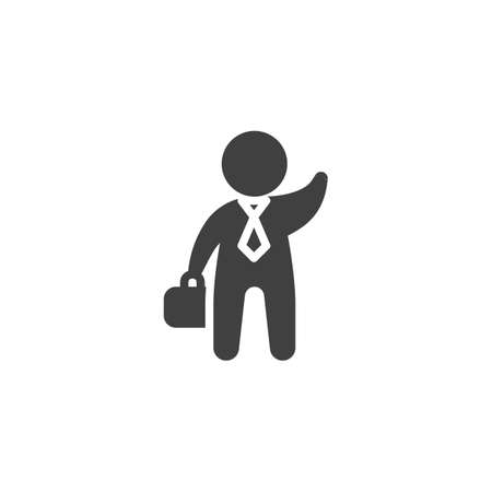 Businessman with a briefcase waving his hand vector icon. filled flat sign for mobile concept and web design. Business greeting glyph icon. Symbol illustration. Vector graphics
