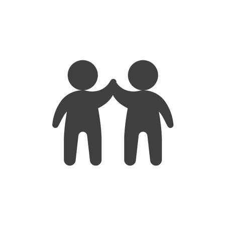 Two man giving each other a high five vector icon. filled flat sign for mobile concept and web design. Business teamwork people glyph icon. Symbol illustration. Vector graphics