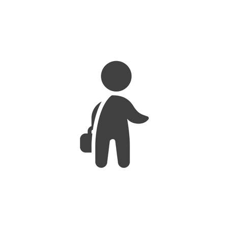 Man with briefcase vector icon. Businessman with suitcase filled flat sign for mobile concept and web design. Person with portfolio glyph icon. Symbol illustration. Vector graphics