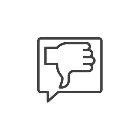 Negative feedback line icon. linear style sign for mobile concept and web design. Thumbs Down, dislike chat message outline vector icon. Symbol illustration. Vector graphics