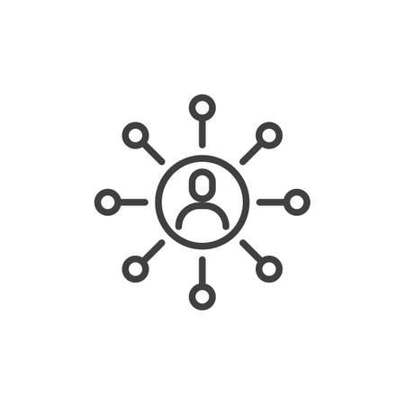 Social media network line icon. linear style sign for mobile concept and web design. Connections people outline vector icon. Symbol illustration. Vector graphics 일러스트