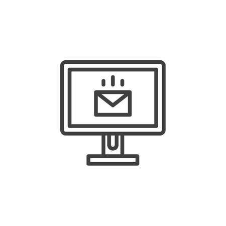 Monitor with email line icon. linear style sign for mobile concept and web design. Pc monitor with envelope message outline vector icon. Symbol illustration. Vector graphics