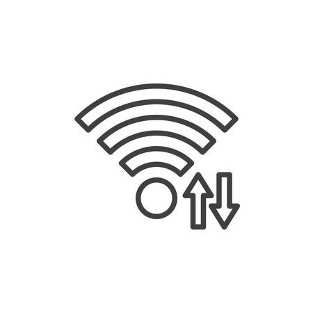 Wi-fi signal transfer arrows line icon. linear style sign for mobile concept and web design. Wireless network share outline vector icon. Symbol illustration. Vector graphics