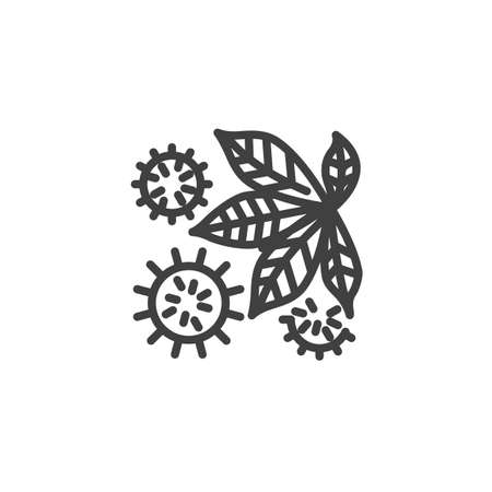 Leaves and thorny cones line icon. linear style sign for mobile concept and web design. Tree leaf and prickly cones outline vector icon. Symbol illustration. Vector graphics